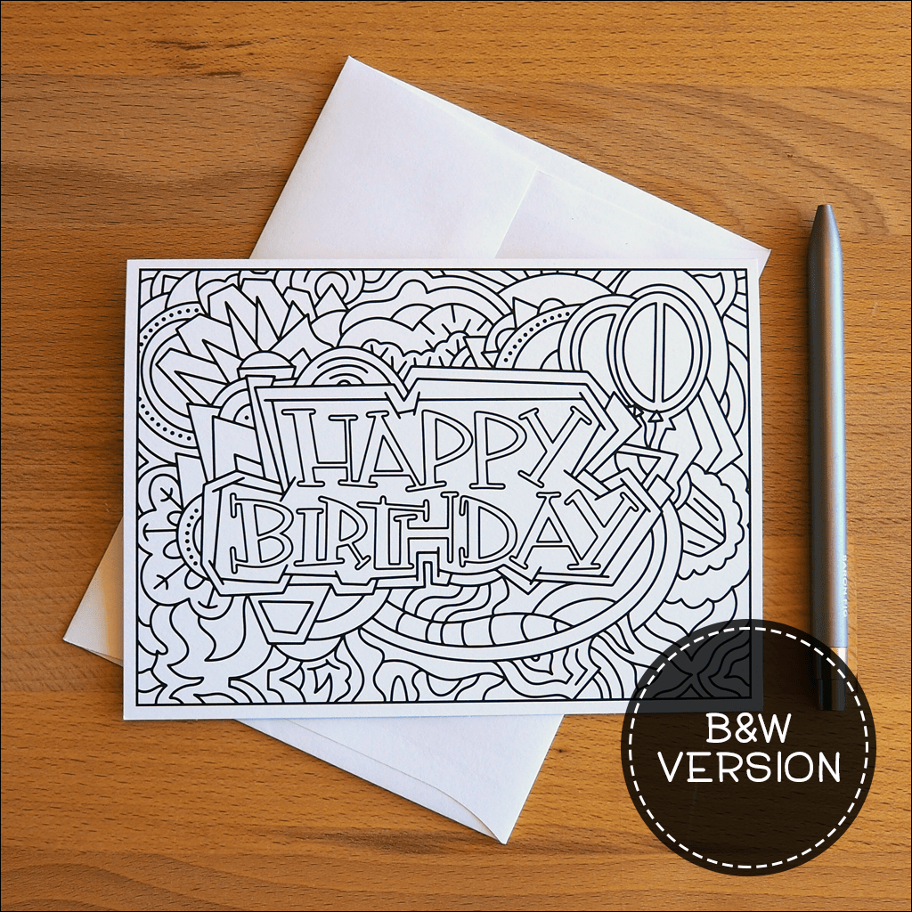 B&W Happy Birthday Cards