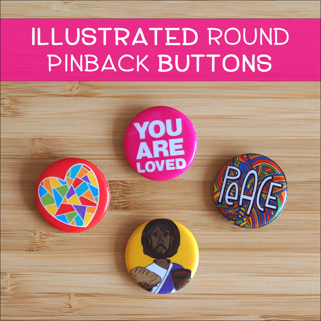 Illustrated Round Pinback Buttons