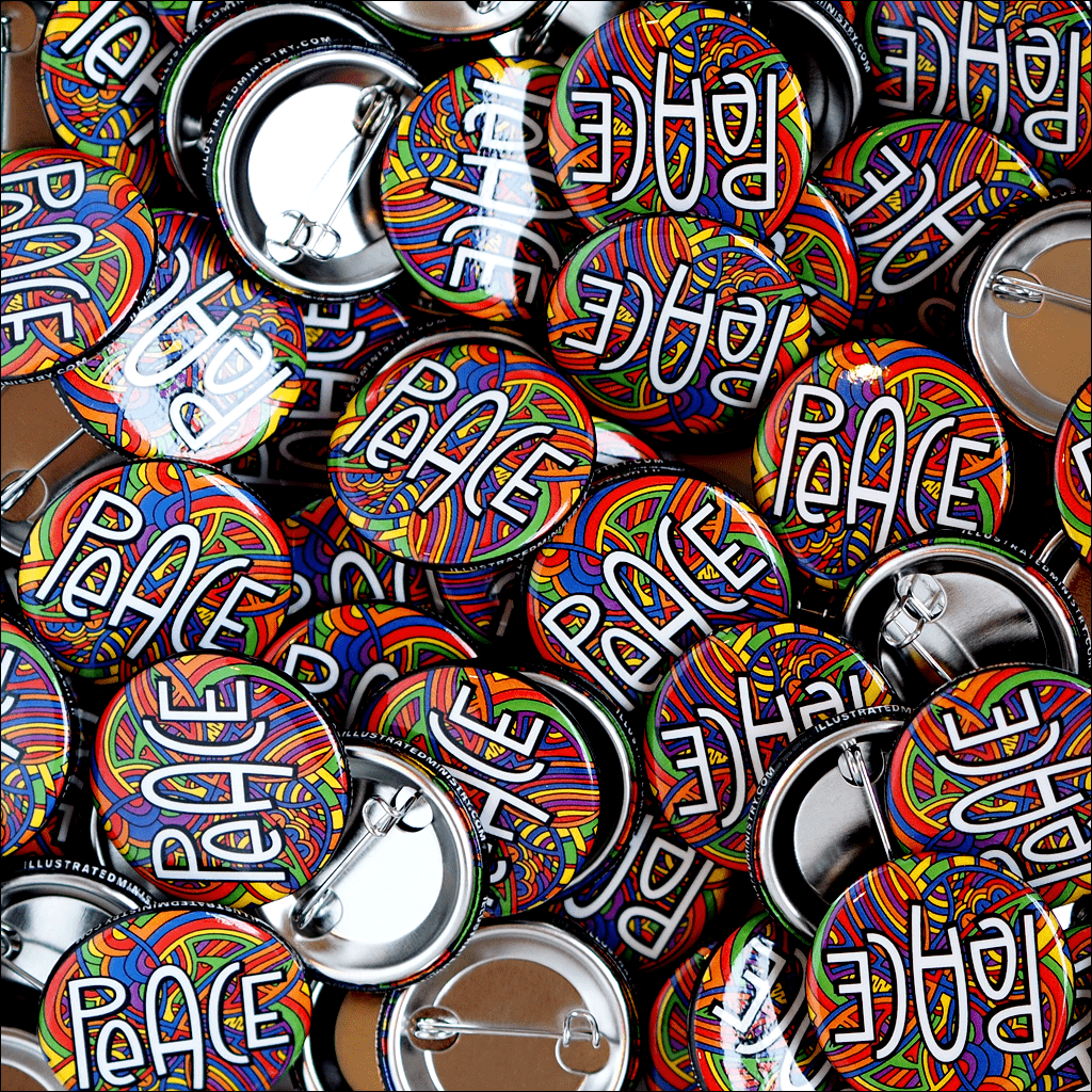 "Illustrated Peace 1.25"" Buttons"