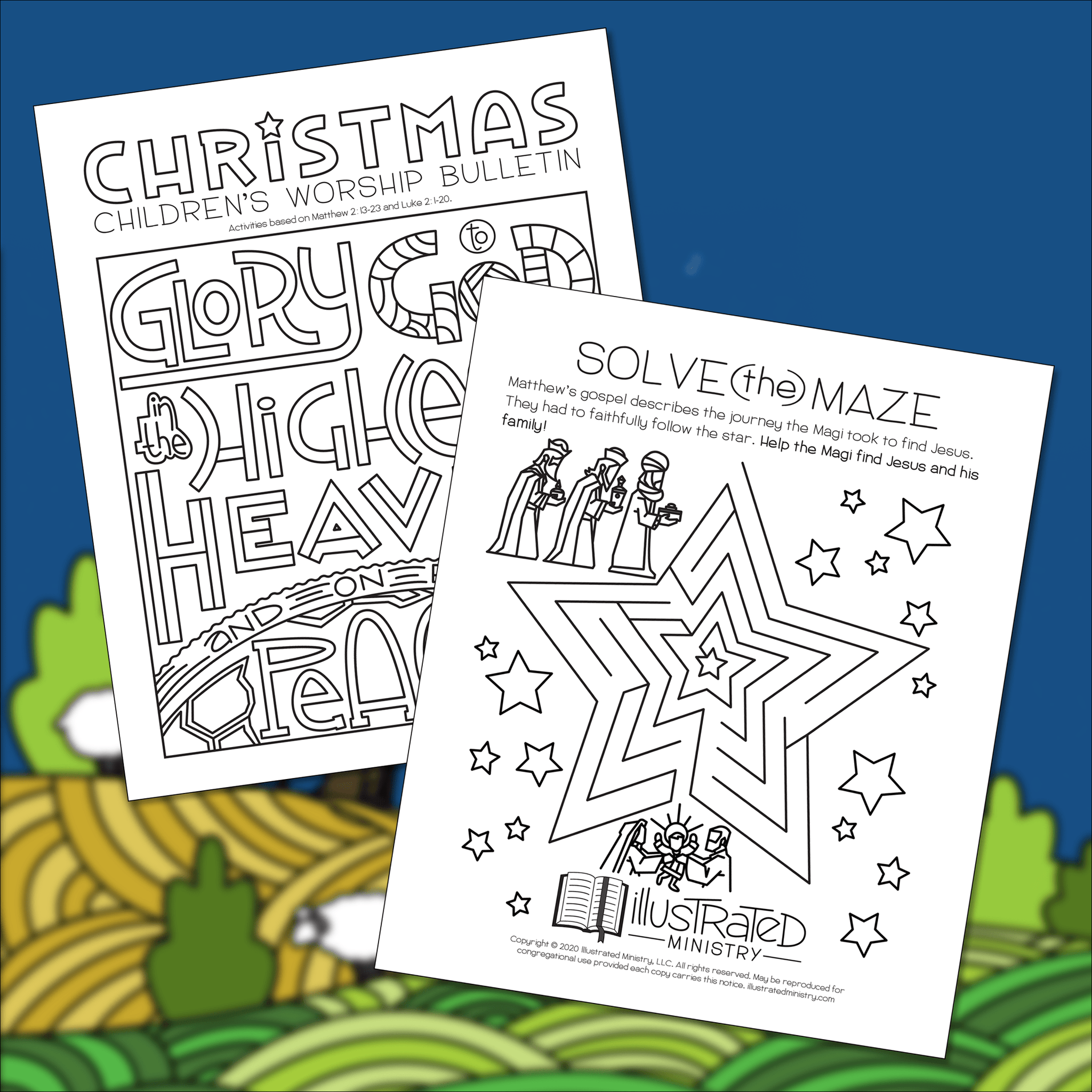 Illustrated Christmas Children's Worship Bulletin