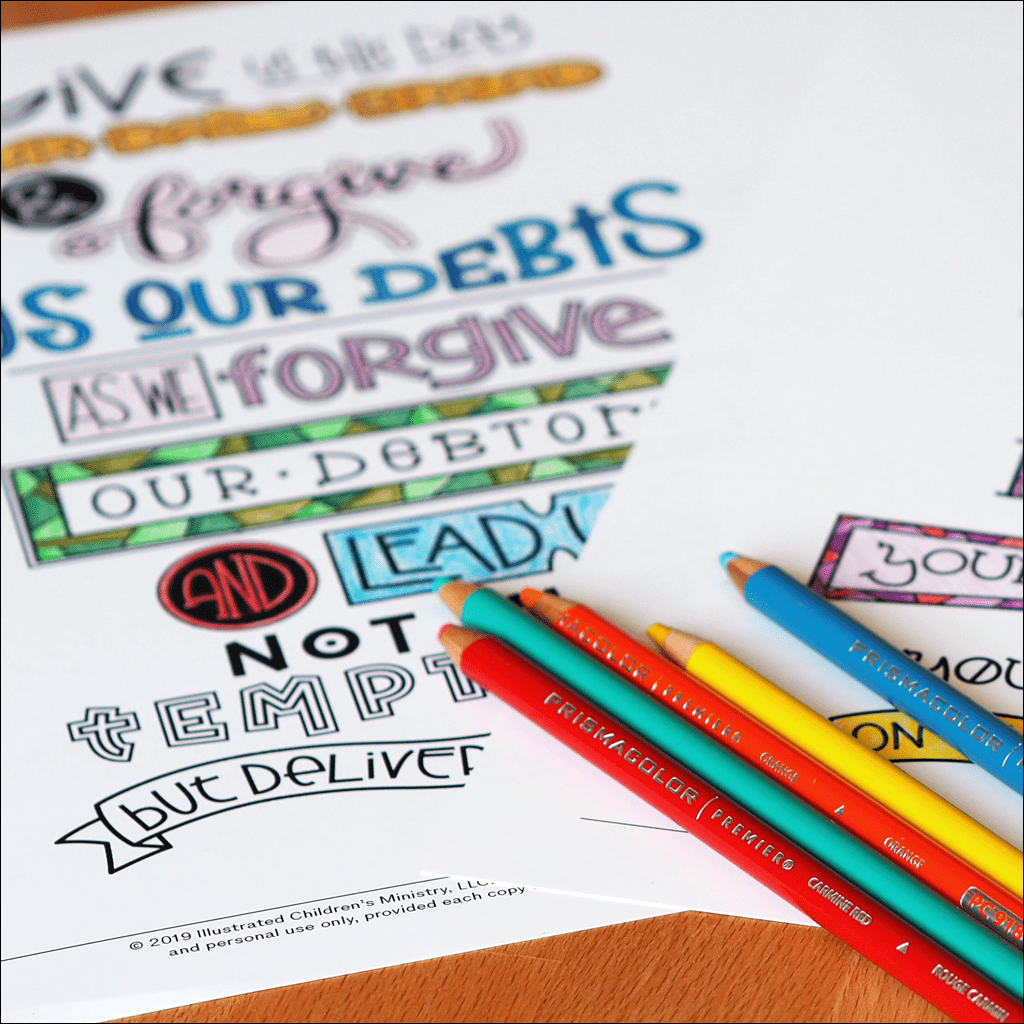 Hand-Lettered Lord's Prayer Coloring Page