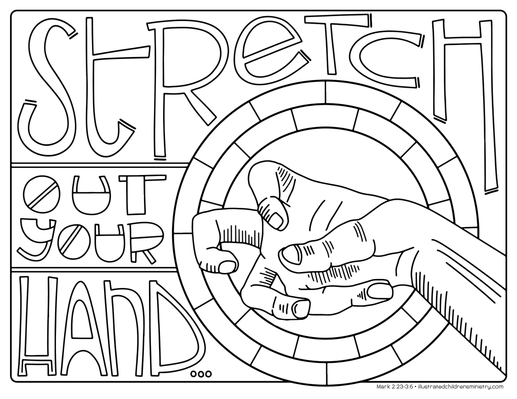 """Stretch out your hand"" coloring page"