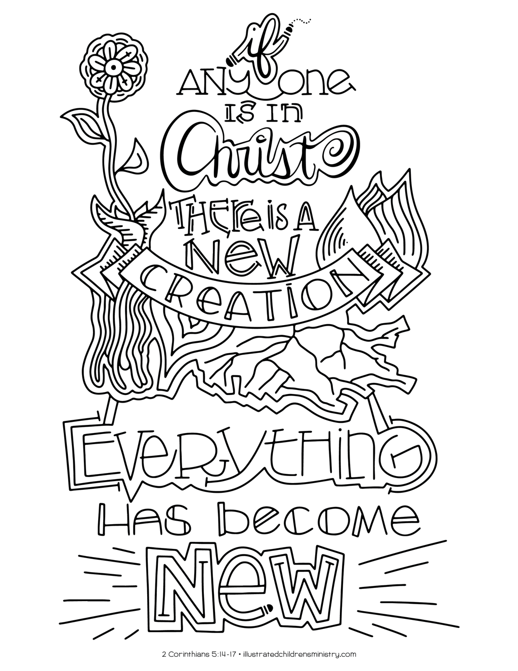 """Everything has become new"" coloring page"
