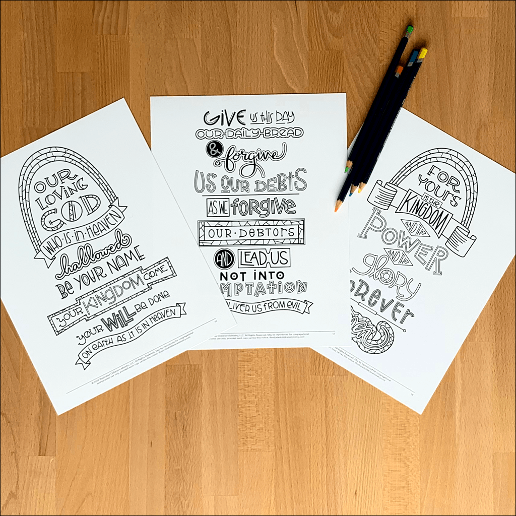 Hand-Lettered Lord's Prayer Coloring Pages B&W