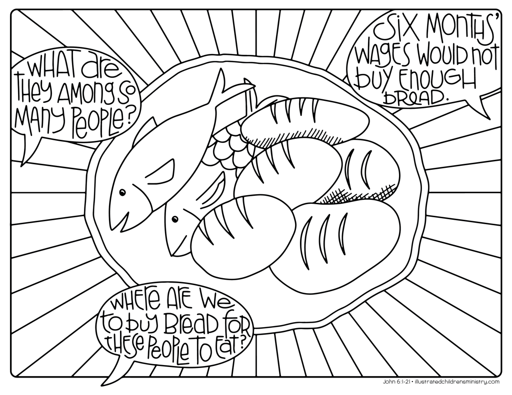 Bread and fish coloring page