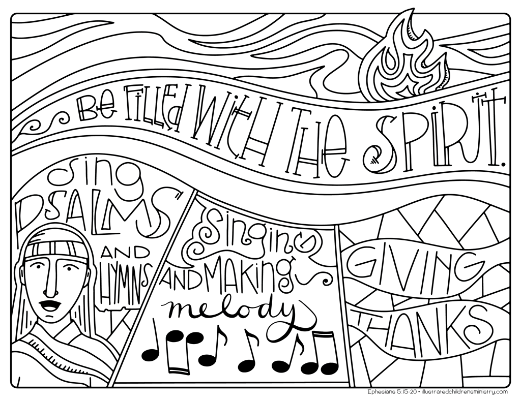 """Be filled with the Spirit"" coloring page"