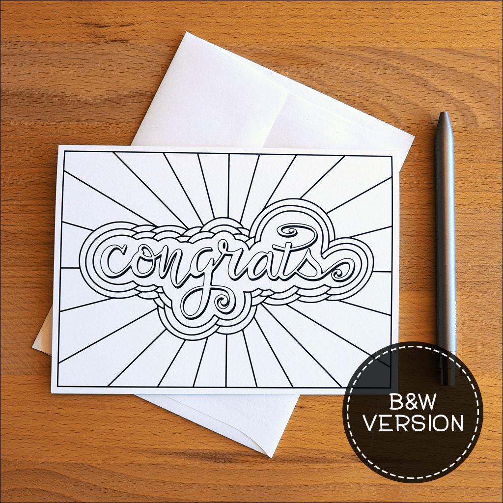 Congrats Greeting Cards B&W