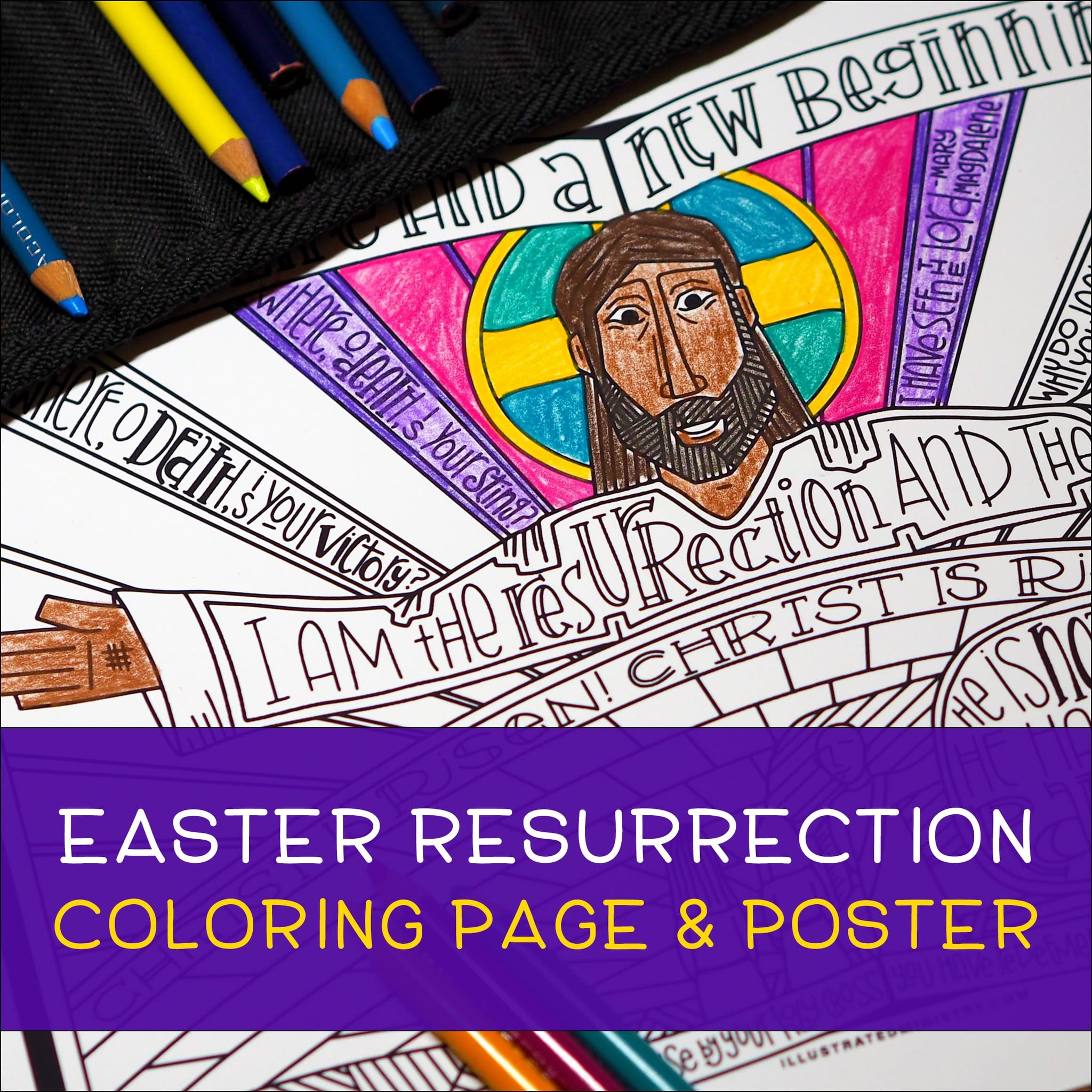 Easter Resurrection Coloring Page & Poster