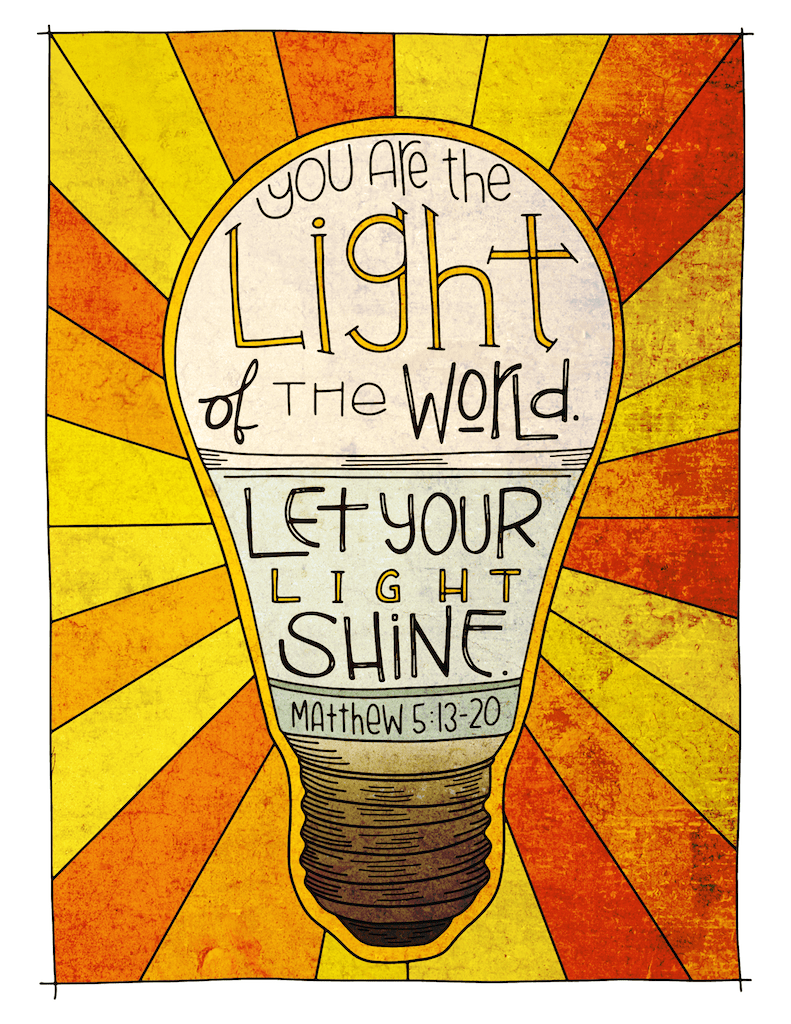 Illustration to accompany children's moment - let your light shine