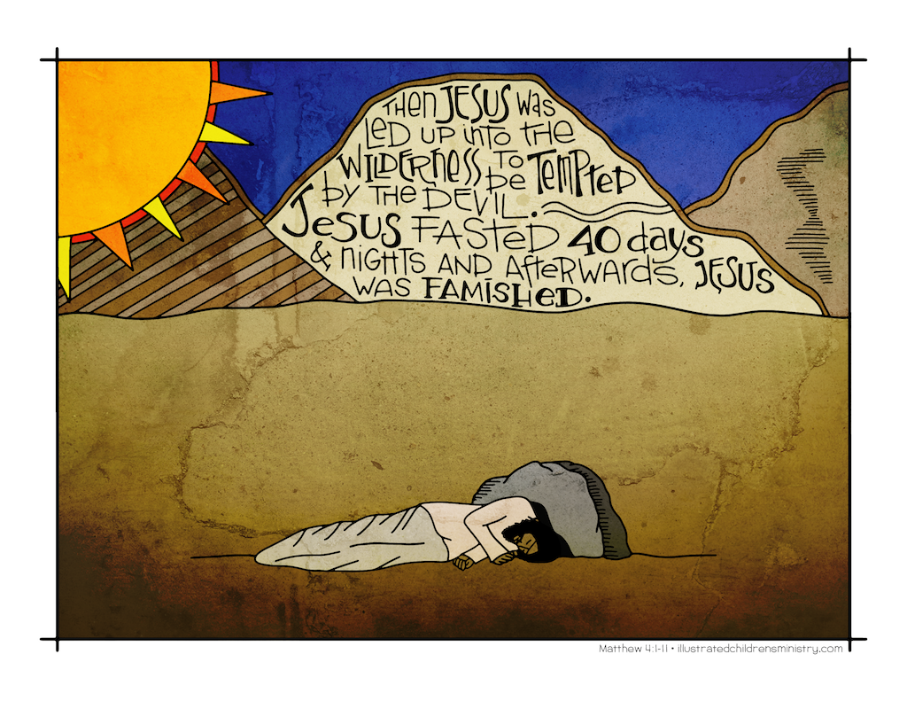 Illustration to accompany children's moment - Jesus in desert