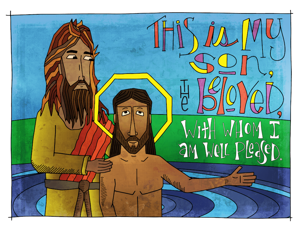Illustration to accompany children's moment - Jesus' baptism