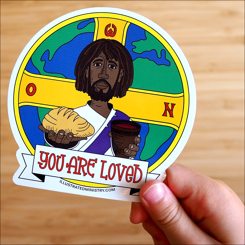 High quality vinyl Jesus Sticker