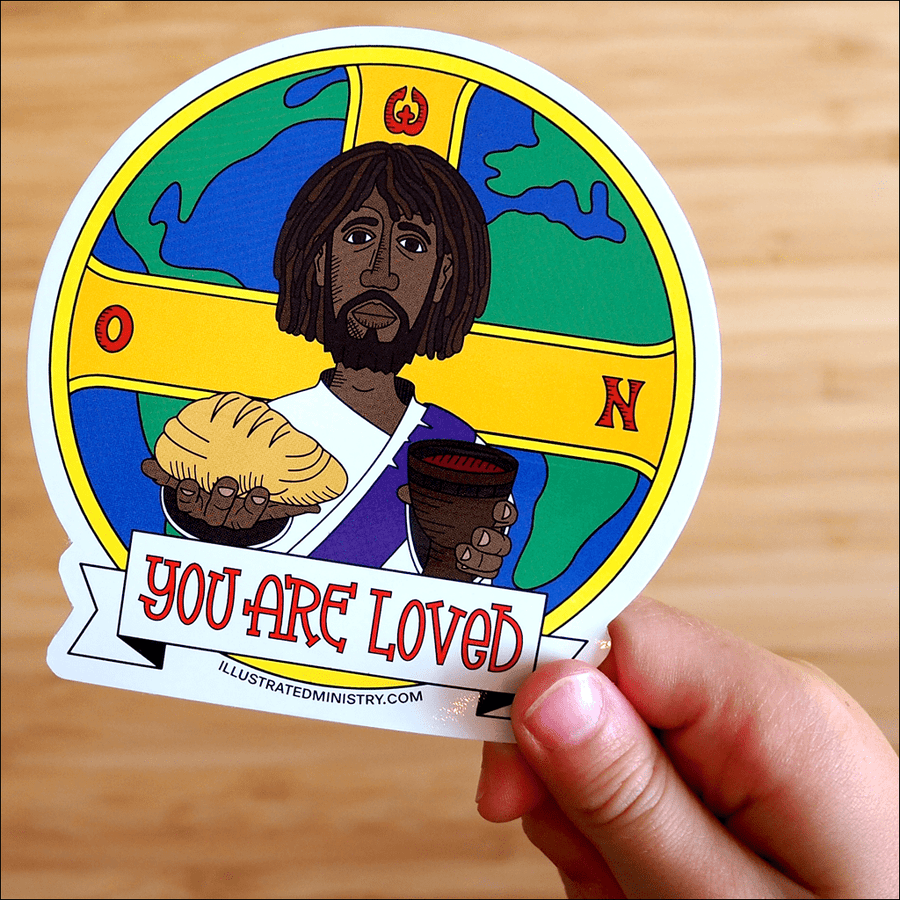"""You are Loved"" Jesus Stickers"