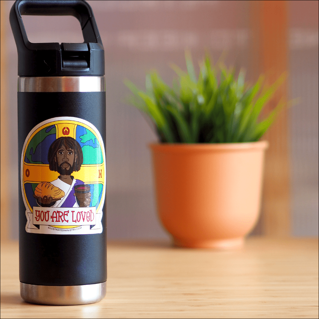 Dishwasher-safe Jesus Stickers decorating water bottle