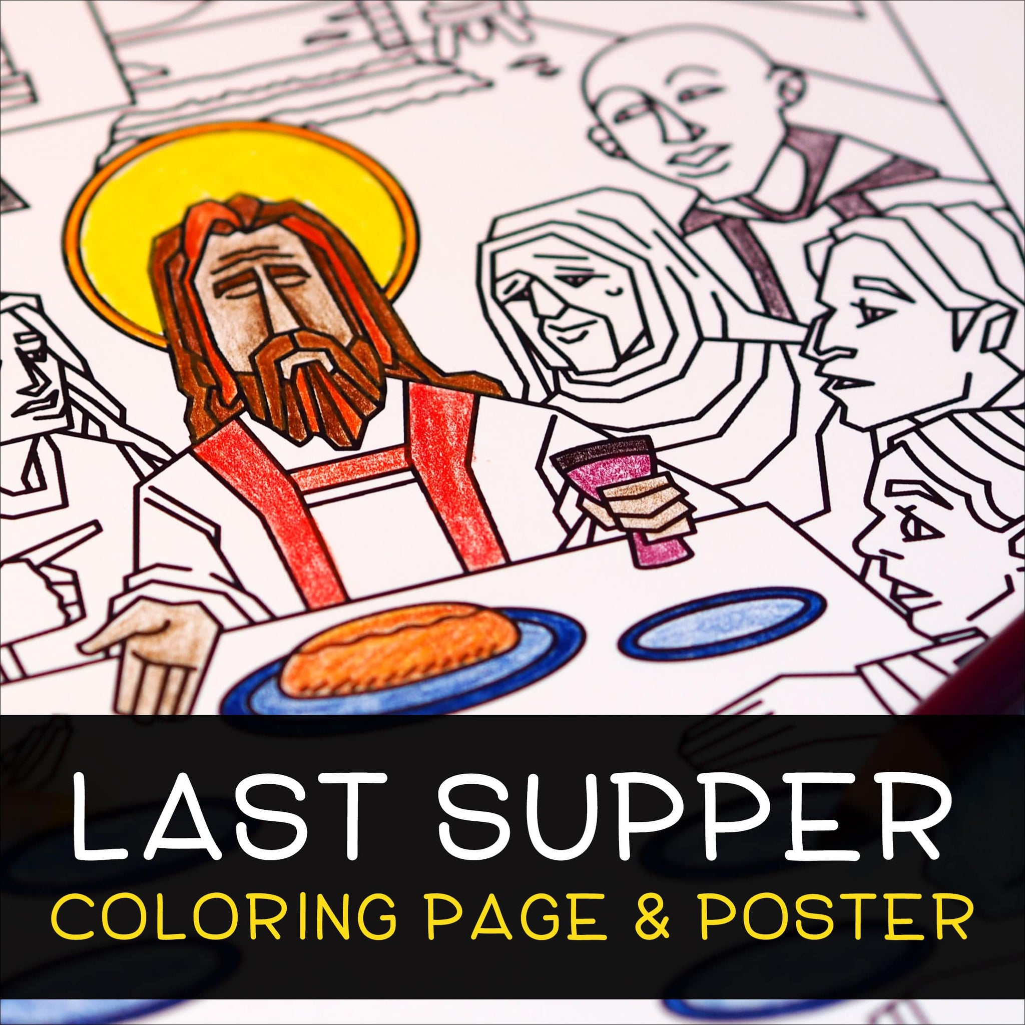 Last Supper Coloring Page & Poster