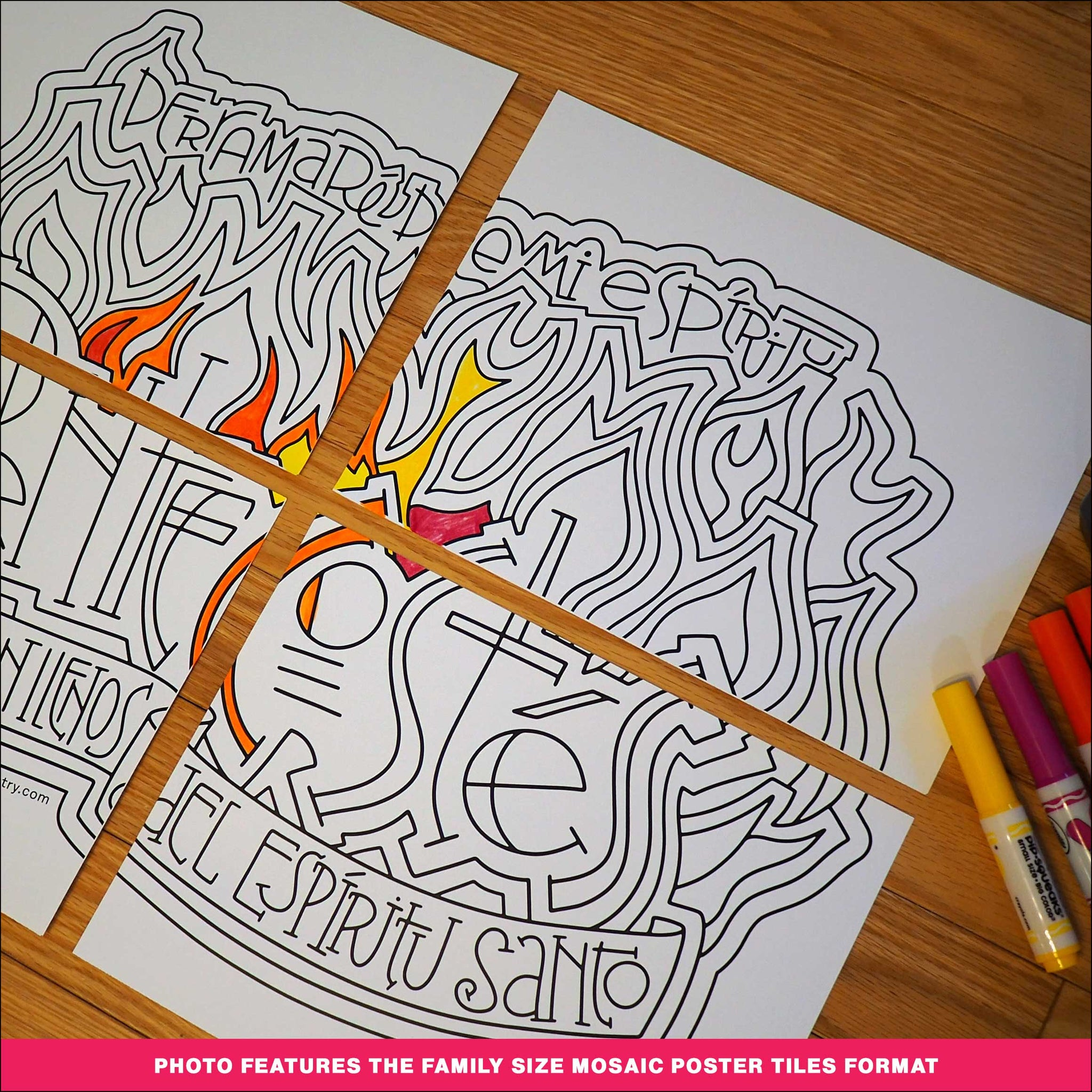Pentecostés Coloring Page & Poster - Spanish-language Version