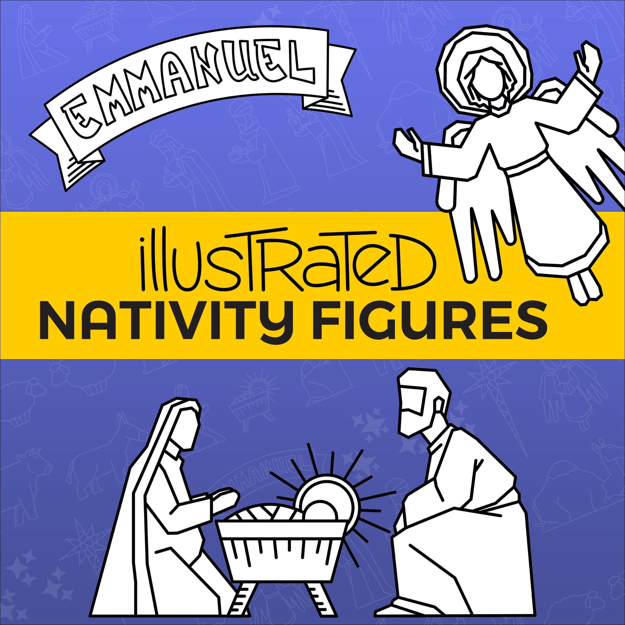 Illustrated Nativity Figures