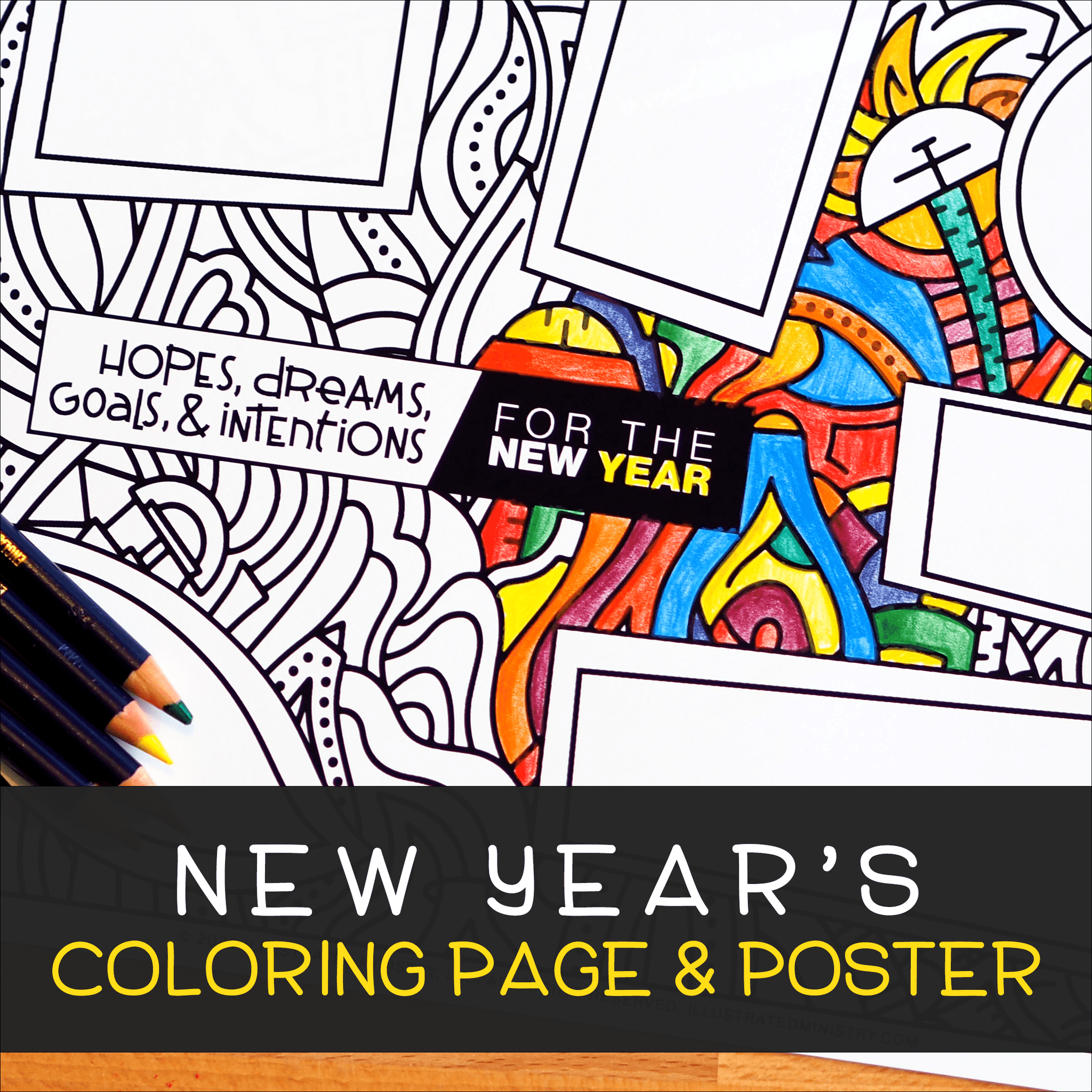 New Year's Coloring Page & Poster