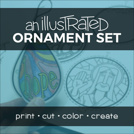 An Illustrated Ornament Set coloring activity