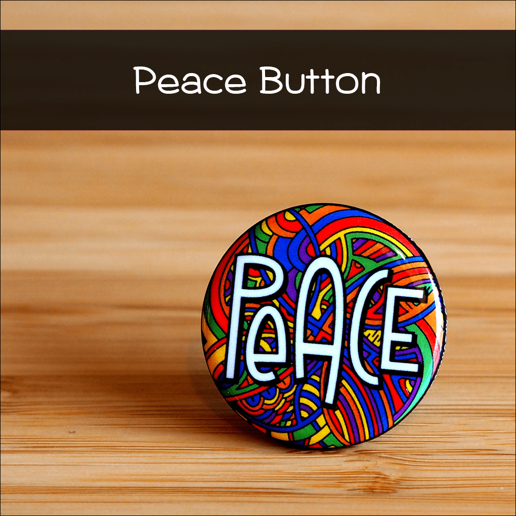 Illustrated Peace Button