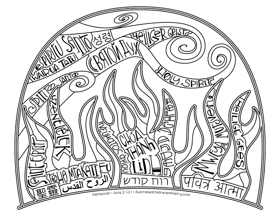 Pentecost Spirit Coloring Page and Poster