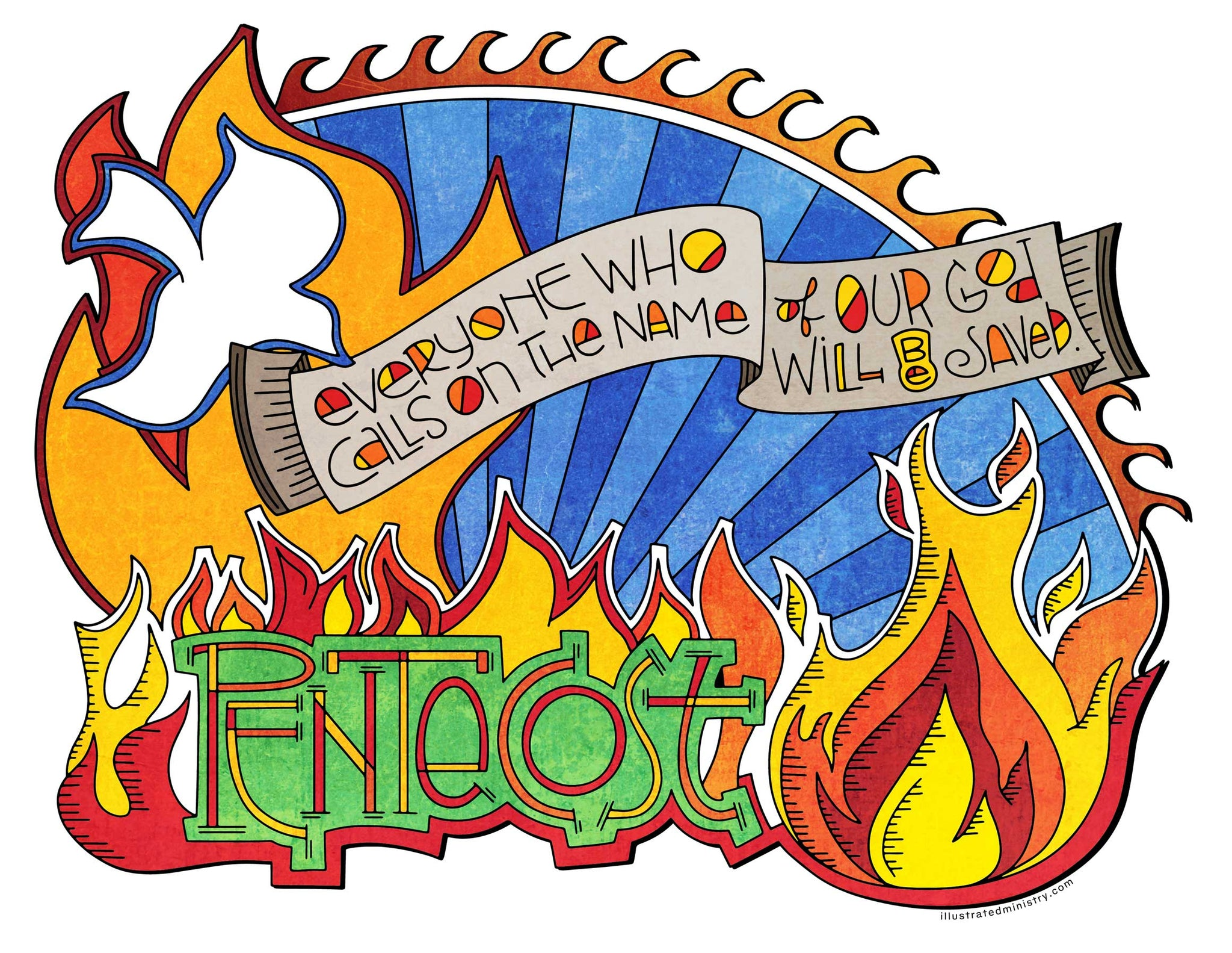 Pentecost Flames Coloring Page & Poster