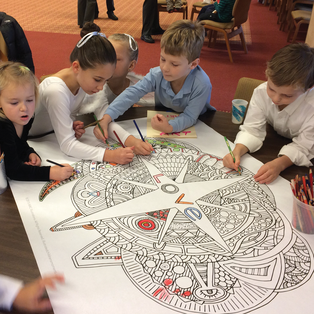 People coloring Hope, Peace, Joy, and Love Coloring Posters