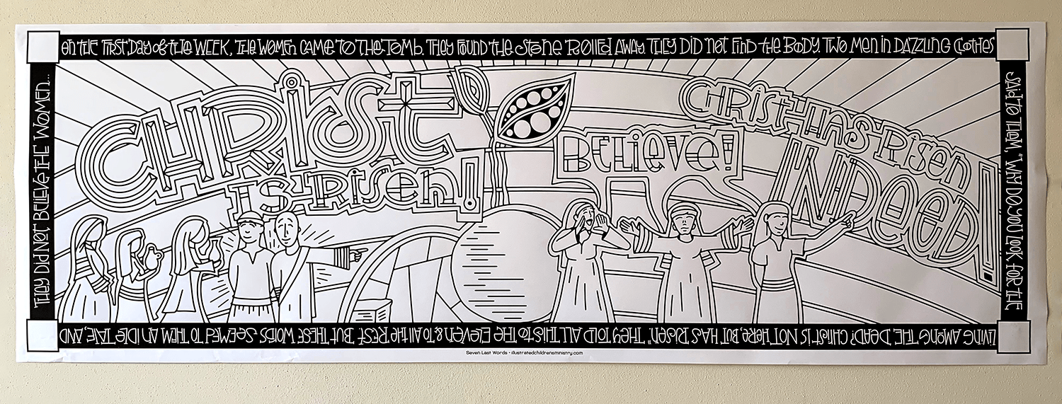 B&W Coloring Poster for Seven Last Words - Christ is risen