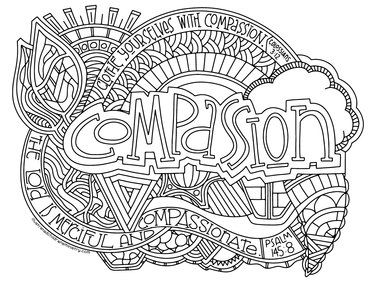 Illustrated Compassion Coloring Page
