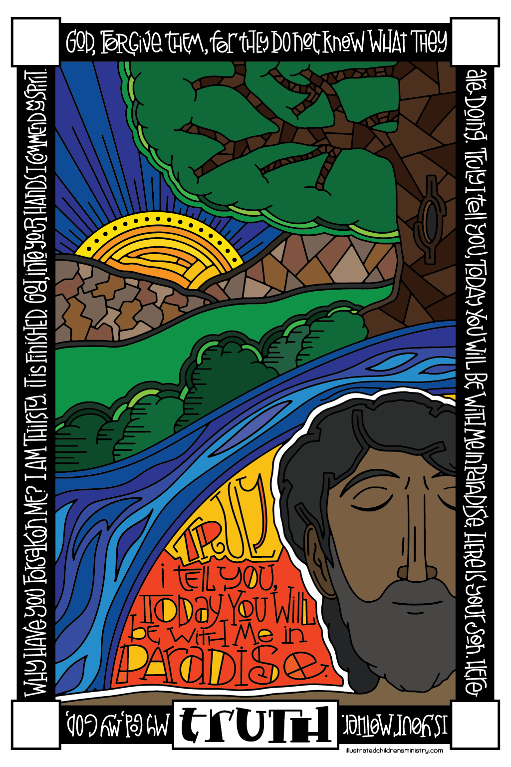 Seven Last Words Coloring Poster in color - Truth