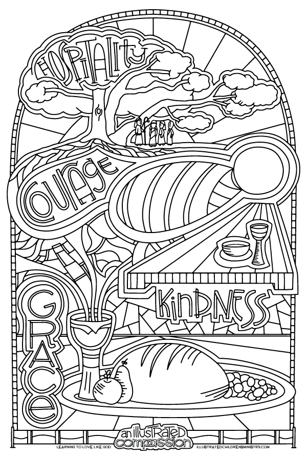 """Hospitality, Courage, Kindness"" coloring page"