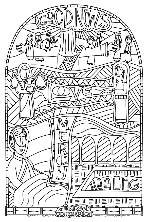 """Good news, Love, Mercy, Healing"" coloring page"