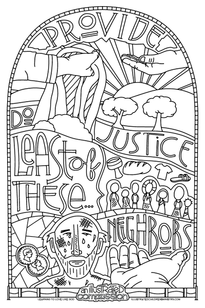 Illustrated Compassion Coloring Pages