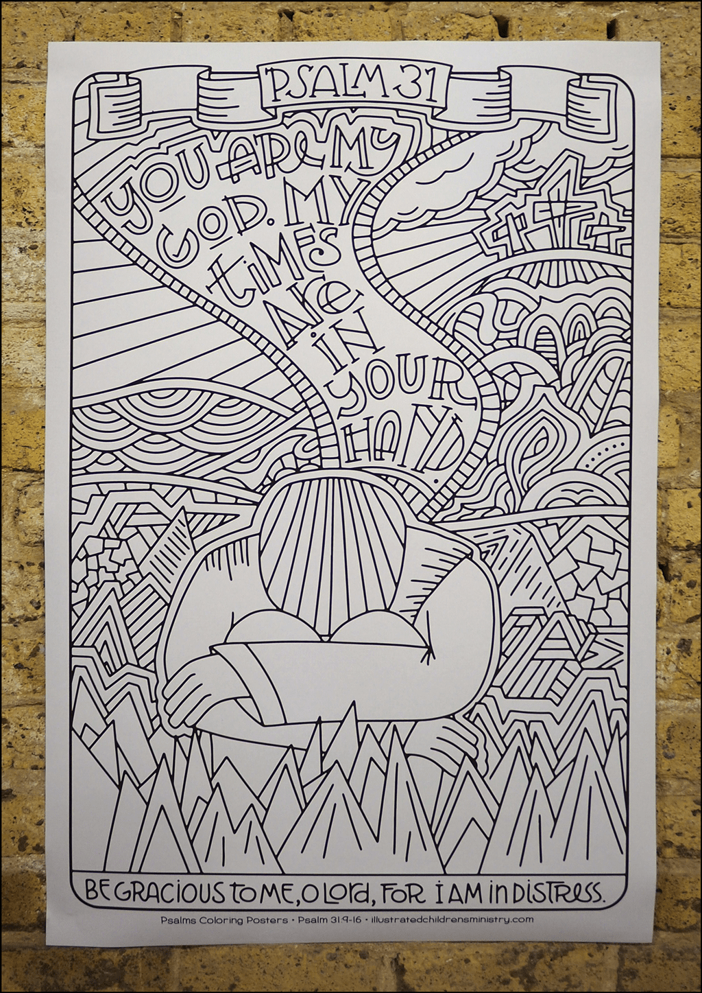 Psalms coloring poster - Be gracious to me, O Lord