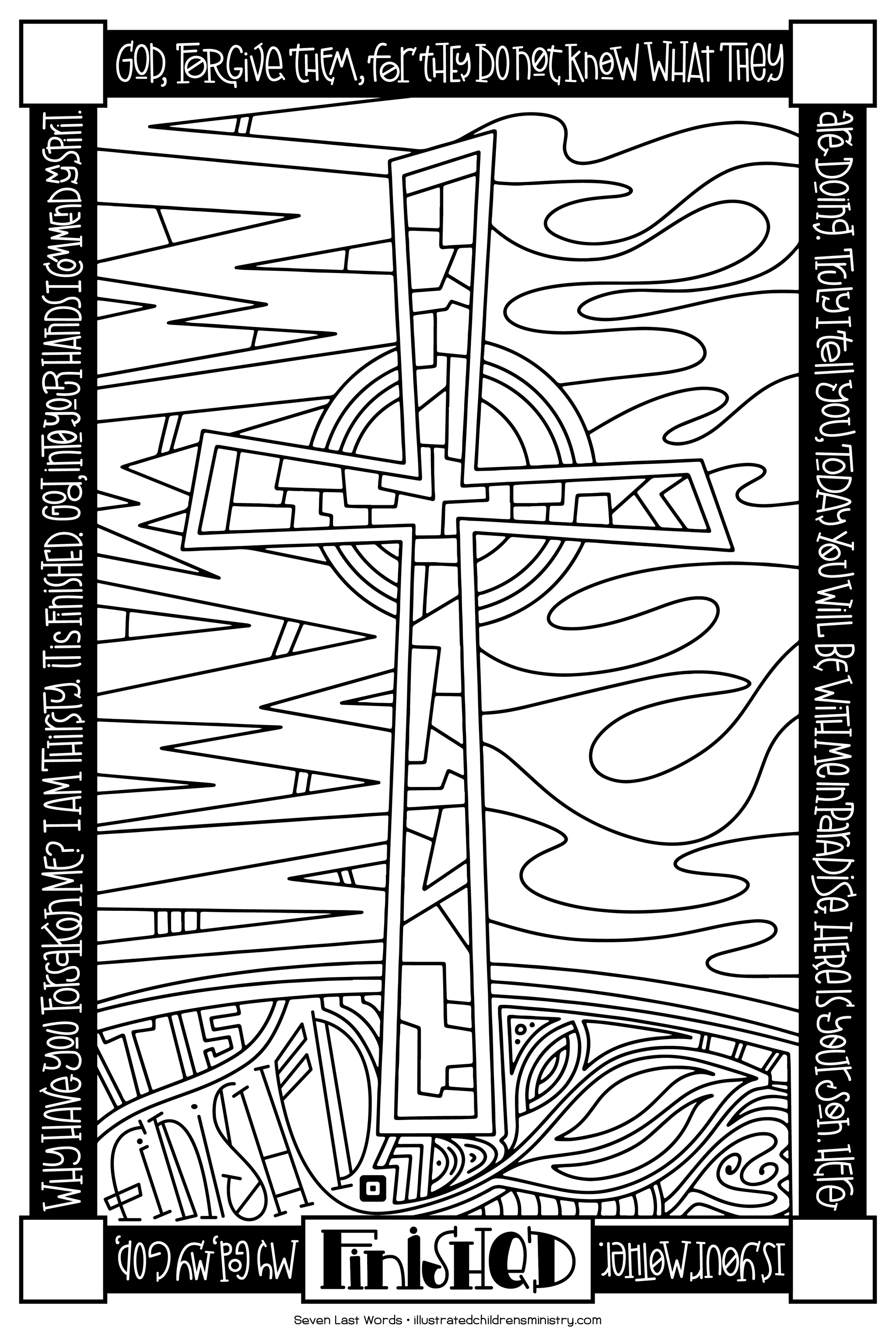 Seven Last Words Coloring Poster - Finished