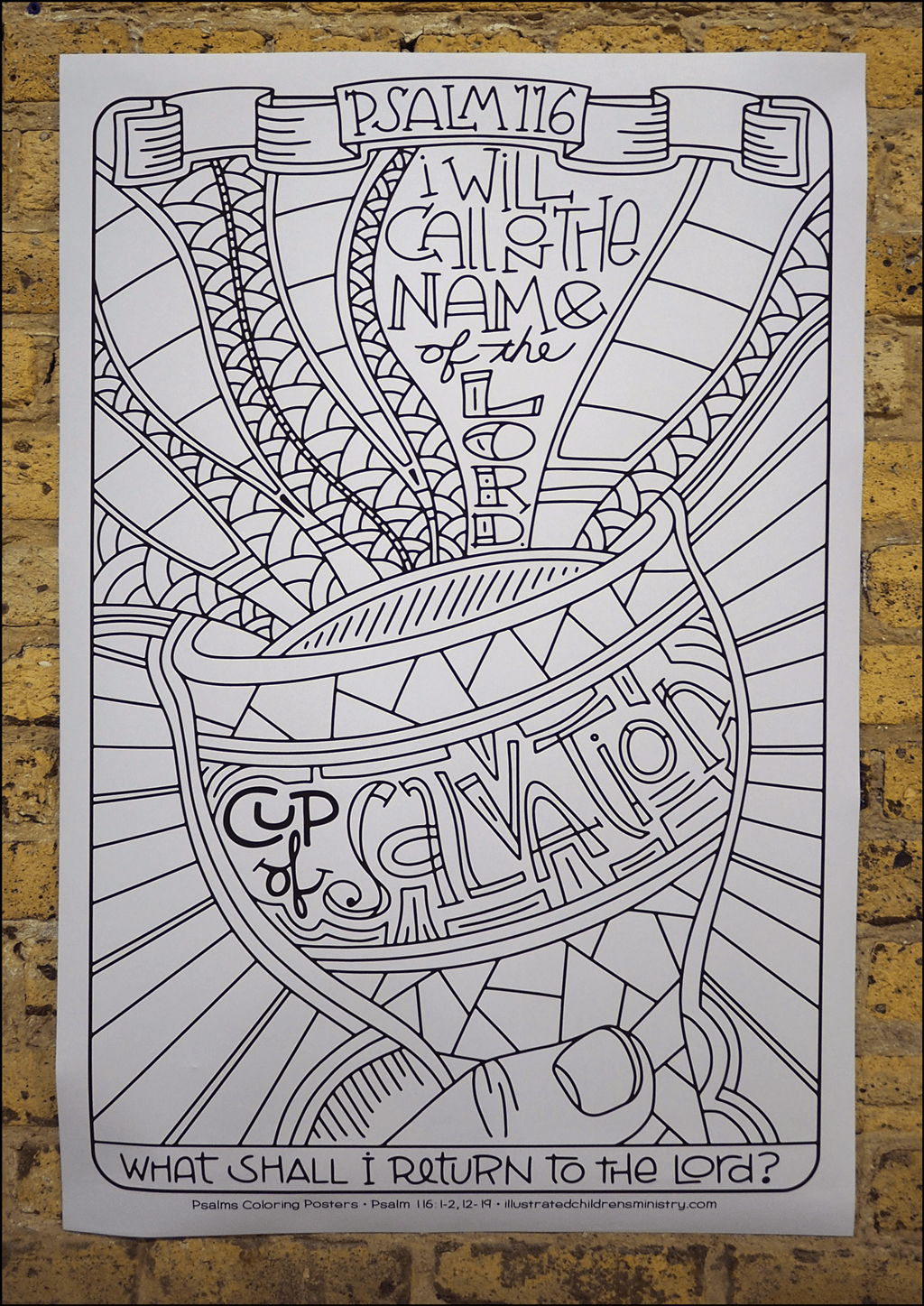 Psalms coloring poster - Cup of Salvation