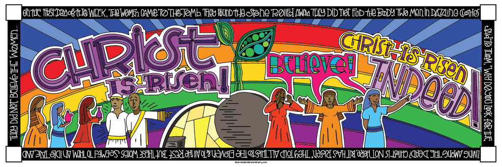 Seven Last Words Coloring Poster in color - Christ is risen