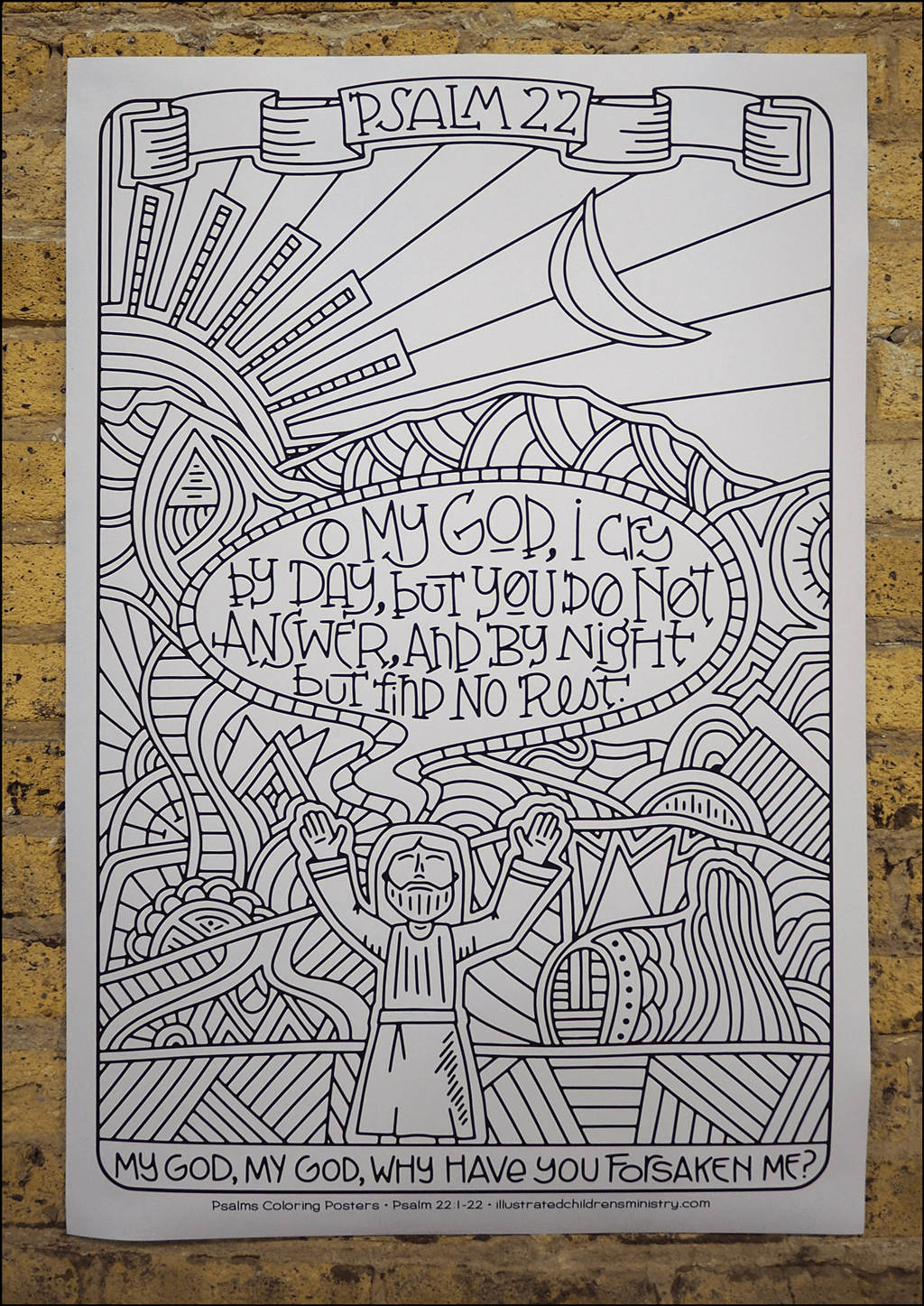 Psalms coloring poster - My God, my God, why have you forsaken me?