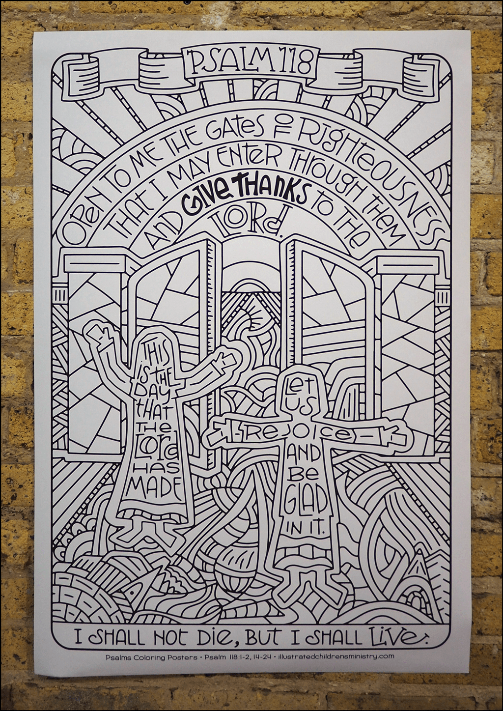 Psalms coloring poster - I shall not die, but I shall live