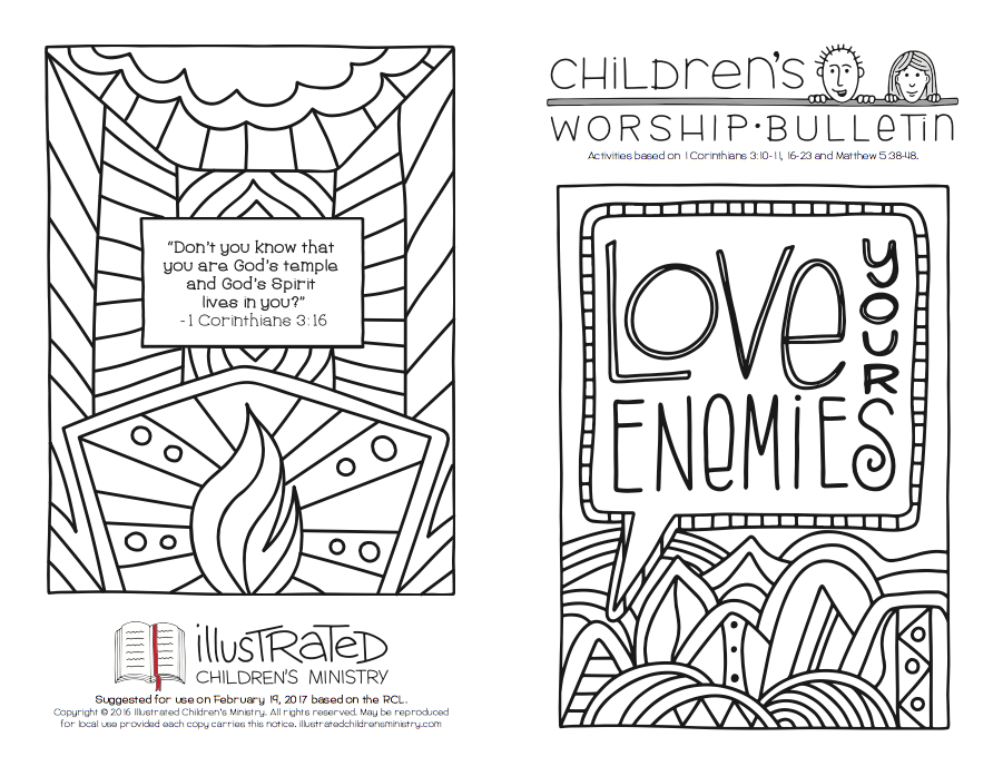 Coloring worship bulletin