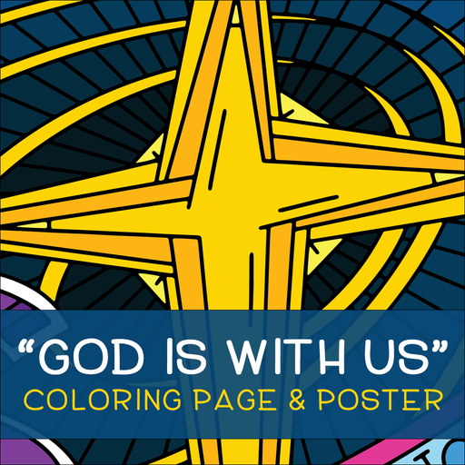 God is with Us Coloring Page and Poster