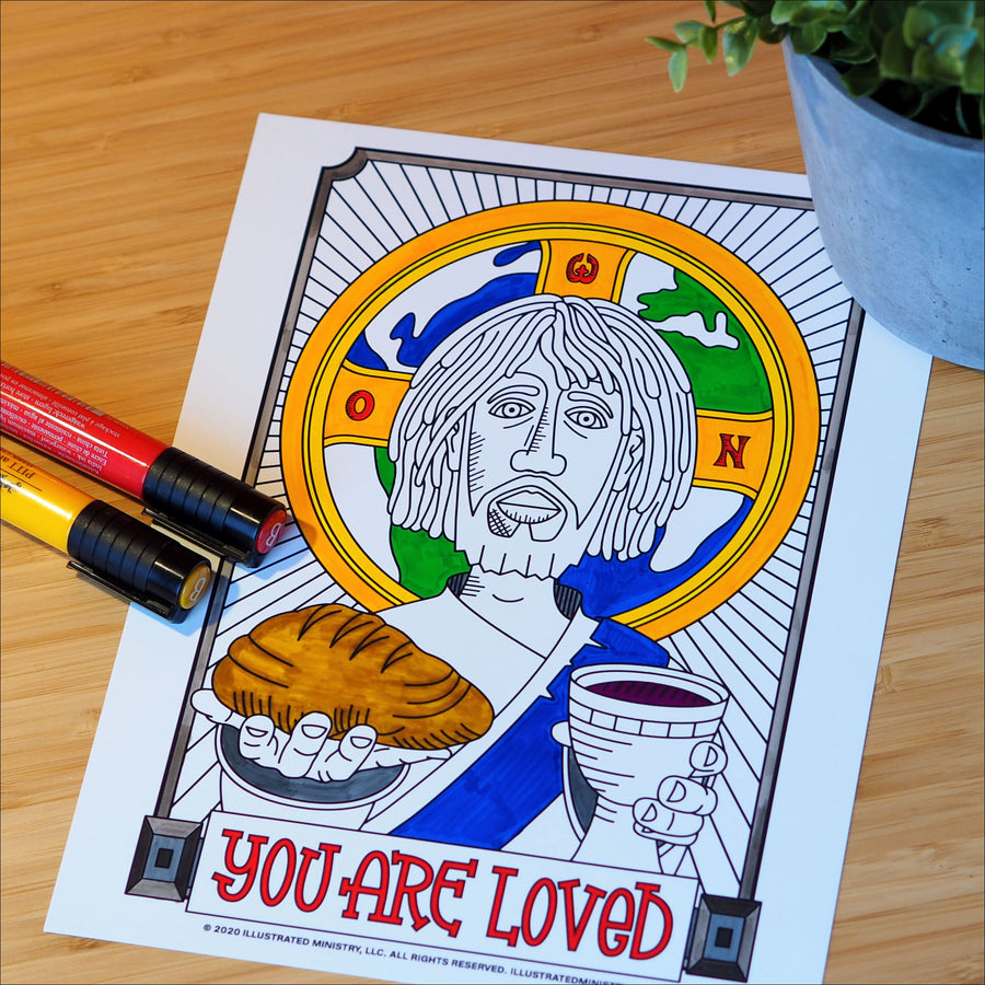 """You Are Loved"" Jesus Coloring Page & Poster"