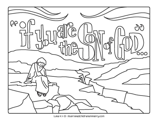 Jesus in the desert coloring page