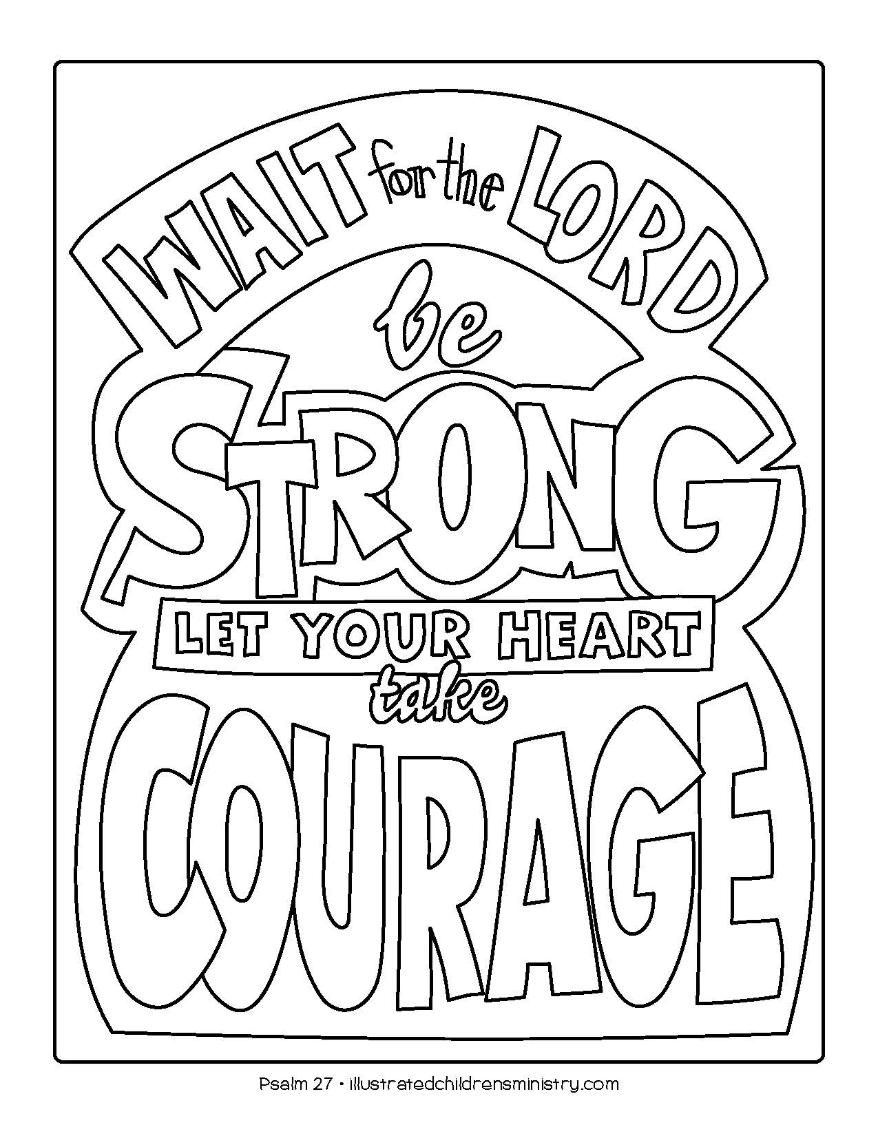 """Let your heart take courage"" coloring page"