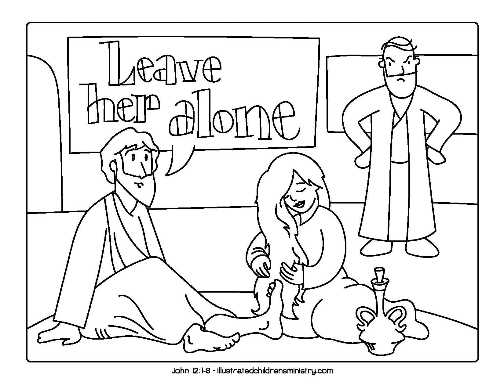 Jesus' feet being washed coloring page