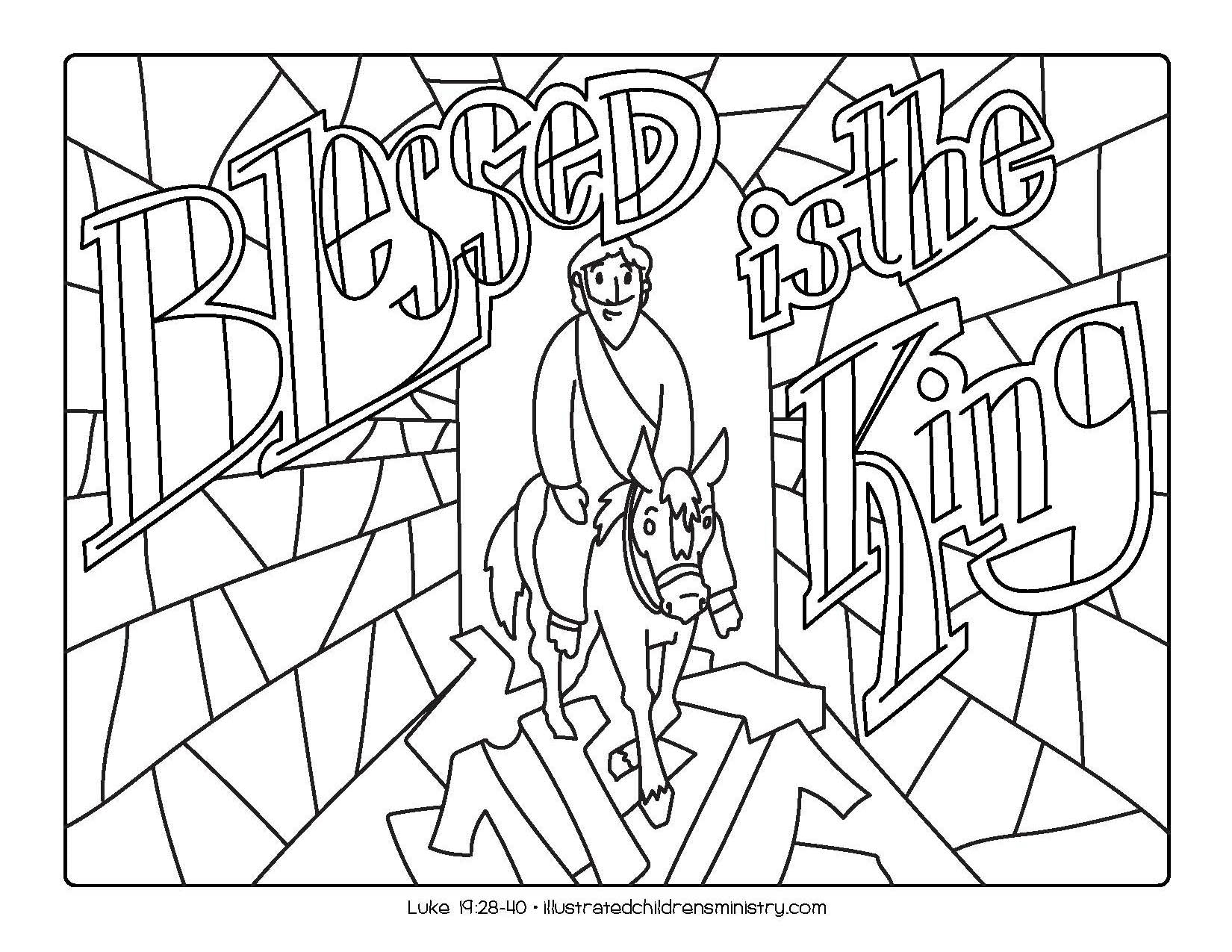 """Blessed is the King"" coloring page"