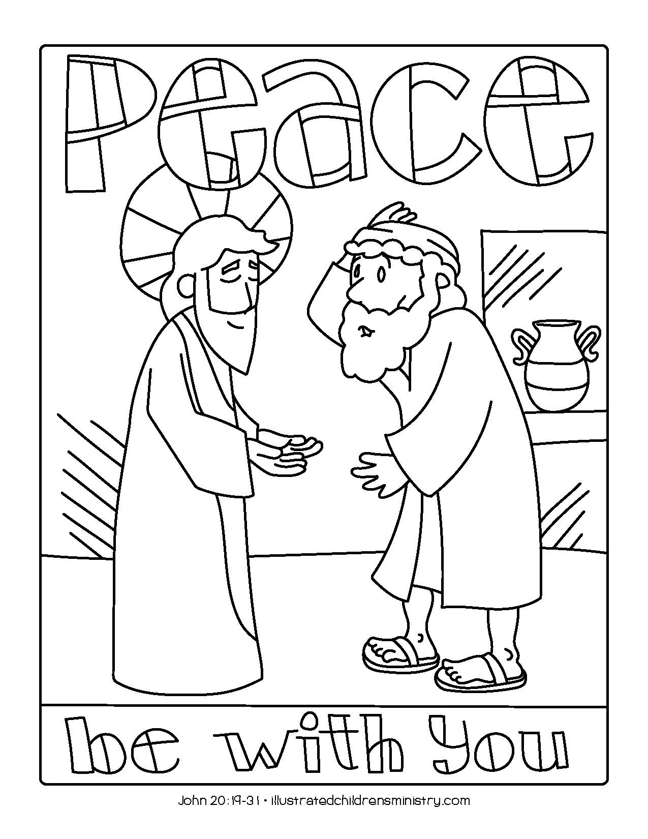 """Peace be with you"" coloring page"