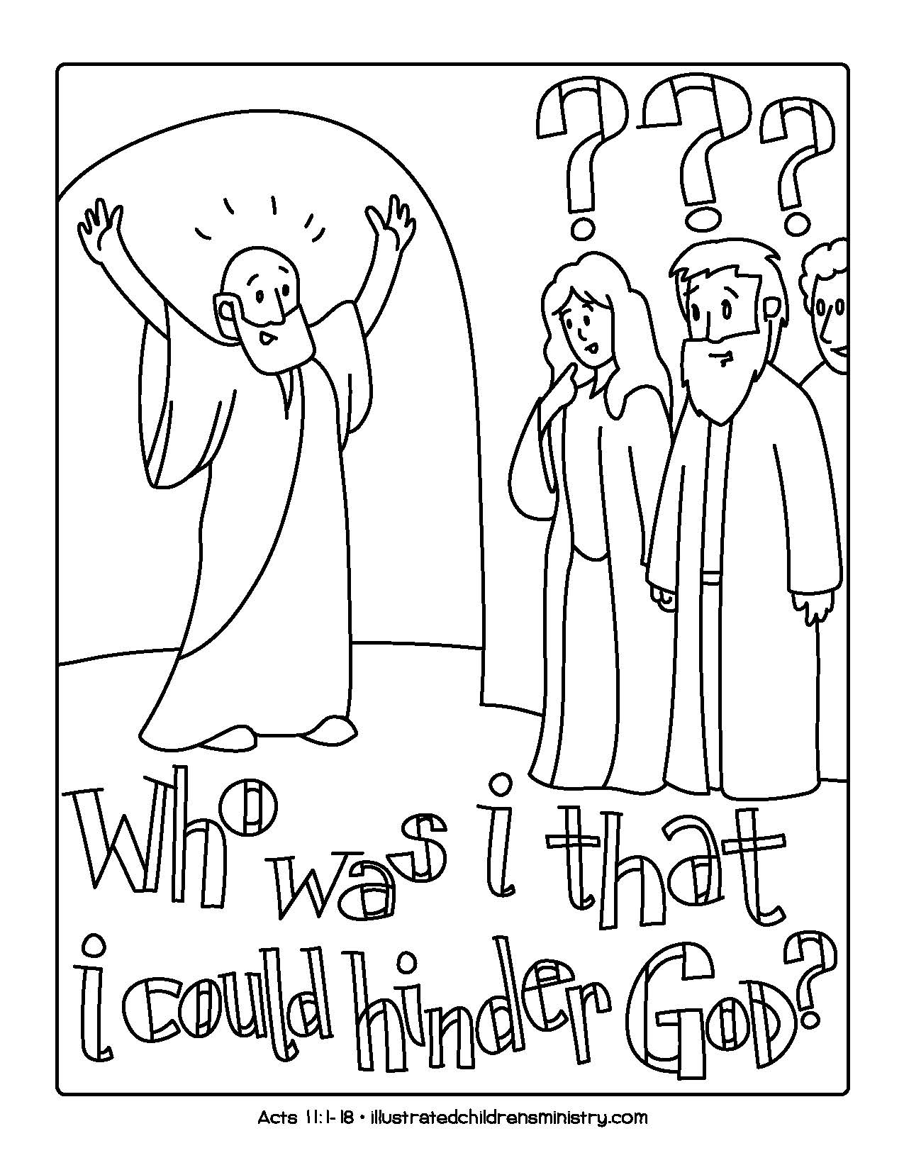 """Who was I that I could hinder God"" coloring page"