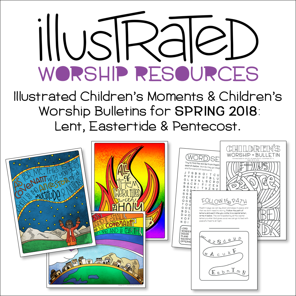 Illustrated children's moments and bulletins - Lent, Easter, Pentecost
