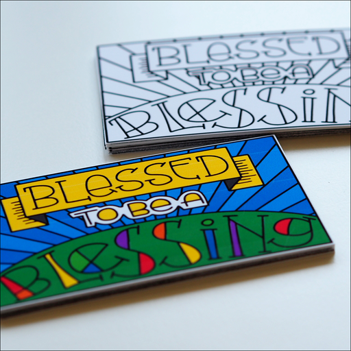 Blessed to be a Blessing Backpack Tags Color and B&W